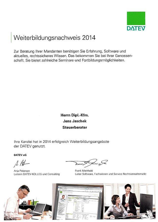 Weiterbildungsnachweis DATEV 2014 (Klick öffnet Detaildarstellung im PDF-Format)