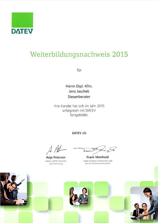 Weiterbildungsnachweis DATEV 2015 (Klick öffnet Detaildarstellung im PDF-Format)