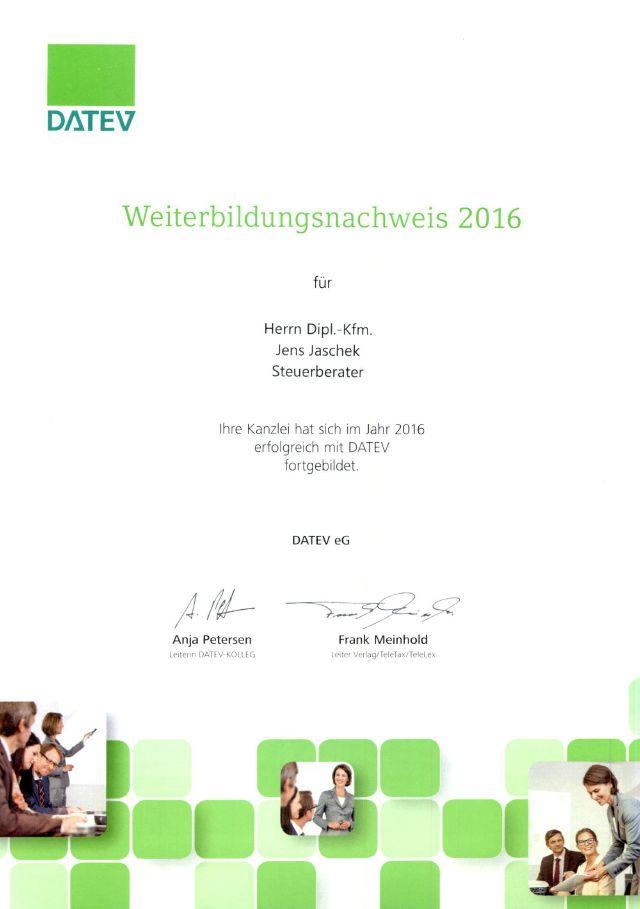 Weiterbildungsnachweis DATEV 2016 (Klick öffnet Detaildarstellung im PDF-Format)